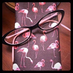 Vintage Halston eyeglasses, pink/blk